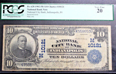 $10 1902 PLAIN BACK Indianapolis, INDIANA  PCGS 20 VERY FINE FR# 628 CH 10121