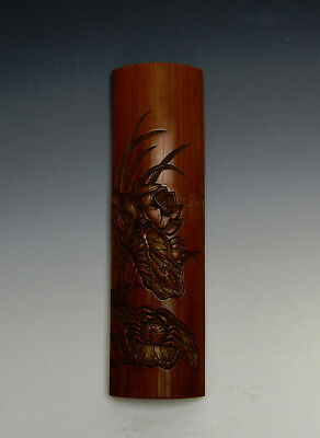 Antique Early Qing Period Chinese Carved Lotus and Crab Bamboo Hand Wrist Rest