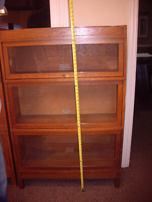 GLOBE WERNICKE Original Antique 3 Section Oak Stacking Barrister Bookcase SHORT