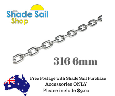 6mm 316 5 Metre length CHAIN 316 Stainless Steel for shade sail boating marine