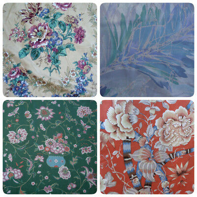 Vtg Cotton Jay Yang Drapery Fabric Coral Blue Beige Green Woodco Made in USA