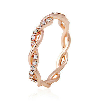 Women Jewelry 14K Solid Rose Gold Stack Twisted Ring Women Fashion Wedding Party