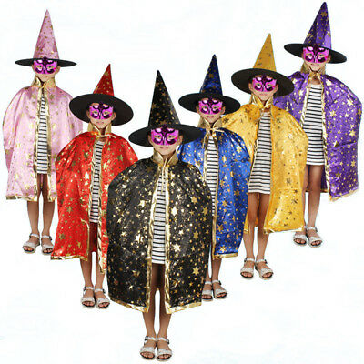 EB27 BLACK with Gold stars Childrens Halloween Costume Wizard//Witch