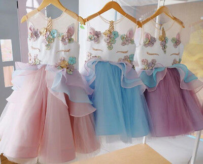 AU Chiffon Unicorn Kids Girl Princess Bridesmaid Pageant Party Formal Tutu Dress