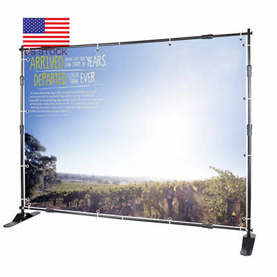 US 8FT Step Repeat Backdrop Telescopic Pop Up Banner Stand Kit For Trade Show E8