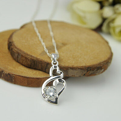 Jewelry Fashion Women Heart 925 Sterling Silver Plated Pendant Necklace Chain