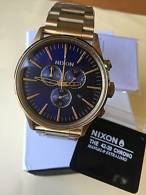 9eae73a9b NIXON watch A386-1922 A3861922 the Sentry CHRONO Gold / Blue Sunray New  freeEMS