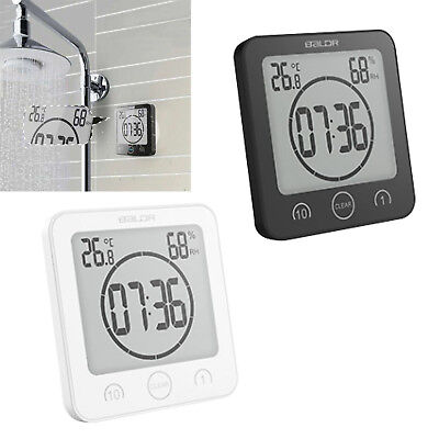 Waterproof Digital Shower Clock Timer Alarm Temperature Meter Humidity Bathroom