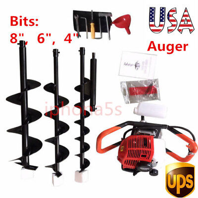 "2.3hp Gas Powered Post Hole Digger Earth Auger 52cc Powered Engine +4"" 6"" 8"" Bit"
