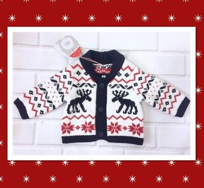 Knitted Winter Cardigan Baby Boy Zig Zag Reindeers Up To 3 Months 14.5Ibs