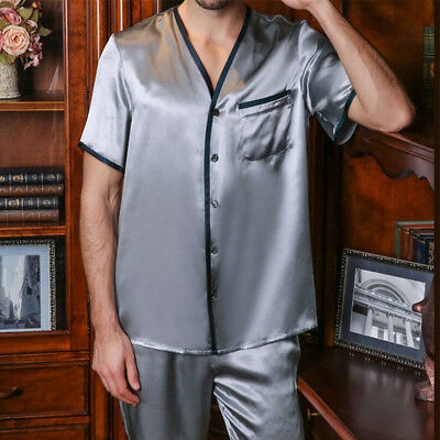 Men s 19MM100% Pure Mulberry Silk Pajamas Set Short Sleeves Silk Sleepwear  S M L 887a99e9e