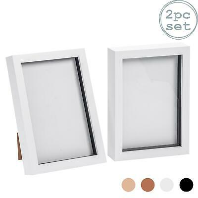 Box Picture Frame Deep 3D Photo Display 6x8 Inch Standing Hanging White x2