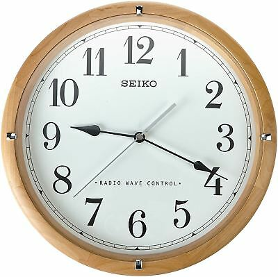 "Seiko QXR303Z Brown Analogue Radio Wave Controlled Time 12"" Wooden Wall Clock"