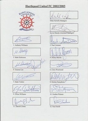 Hartlepool United 2002-2003 Original Hand Signed 2 X Team Pages 26 X Signatures