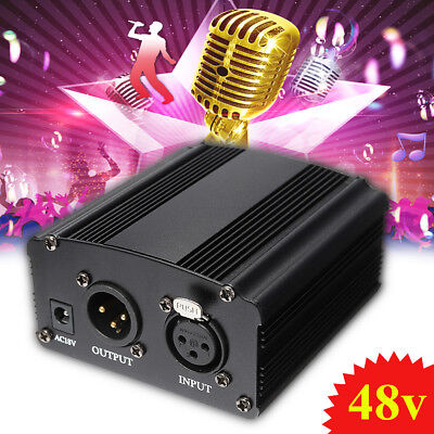 1- Kanal 48V Power Supply für XLR Kabel Kondensator Mikrofon + Adapter