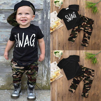 Toddler Kids Baby Boy Camo Outfits T-shirt Tops + Long Pants Trousers Clothes US