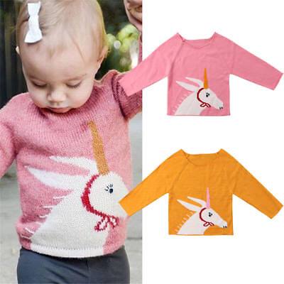 UK Toddler Kid Baby Girl Knitting Unicorn Pullover Tops Sweater T Shirt Clothes