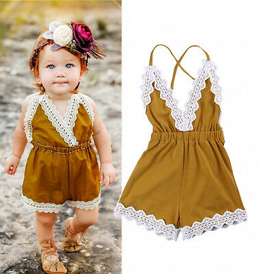 US Stock Summer Newborn Baby Girls Lace Romper Jumpsuit Sunsuit Outfit Clothes