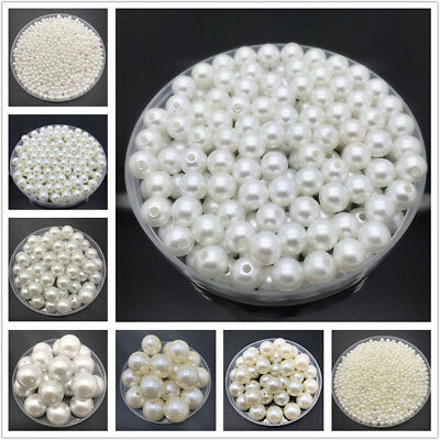 4-20mm White Ivory Imitation Pearls Round Pearl Spacer Loose Bead Jewelry Making