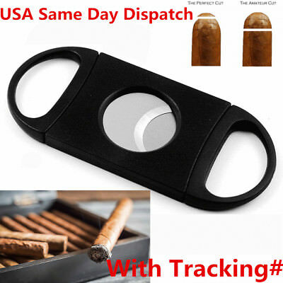 USA Cigar Cutter Black ABS Plastic Handle Stainless Steel Double Blade Scissors