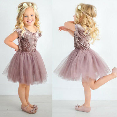 Toddler Kid Baby Girls Summer Velvet Party Pageant Tutu Lace Tulle Dress Clothes