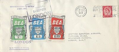 BRITISH EUROPEAN AIRWAYS : 1954 9d-1/11 labels on cover to London