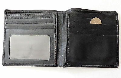 Vintage black wallet 1990s faux leather ID holder lots of credit card slots