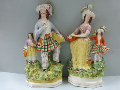 Superb Large Pair Of 19Th C. Staffordshire Figures Of Fruit Sellers C.1860
