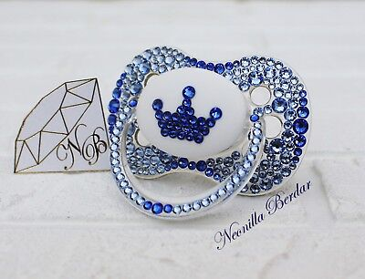 Pacifier with Swarovski Crystals. Blue Crown Dummy. Bling pacifier. Bling dummy