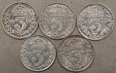 Great Britain 3 Pence 1914,15,16,17,+18 Better Circulated Grade Coins
