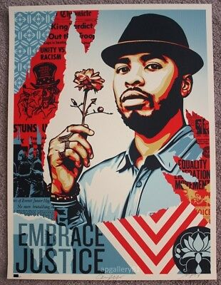 Obey Embrace Justice Print by Shepard Fairey signed and numbered