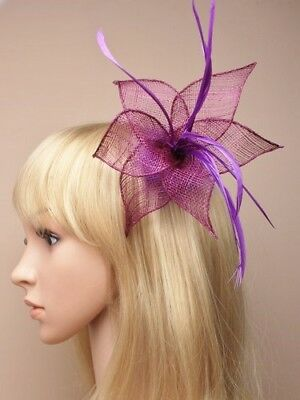 Deep Purple sinamay and feather fascinator  clip, Ascot Races, Weddings