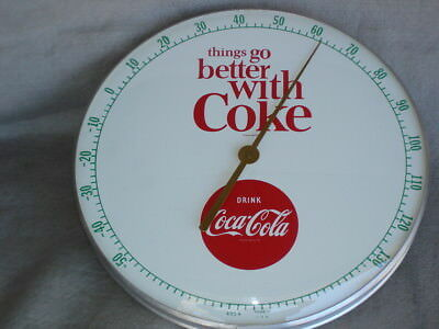 """Coca-Cola Thermometer 1964 12"""" Round - Working  Very clean ( white face)"""
