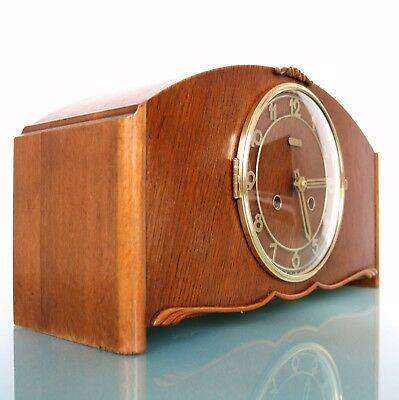 HERMLE Mantel Clock Vintage HIGH GLOSS 3 Bar CLEAR! Chime Mid Century Restored!!