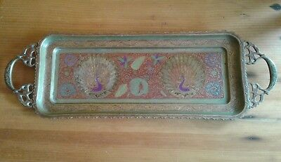 Beautiful Antique Brass Tray Made in India Indian Art Antique Vintage Decorative