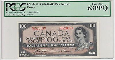 1954 Bank of Canada $100 Devil's Face Note - PCGS Choice New 63PPQ - Sale