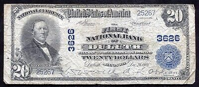 1902 $20 The First National Bank Of Duluth, Mn National Currency Ch. #3626