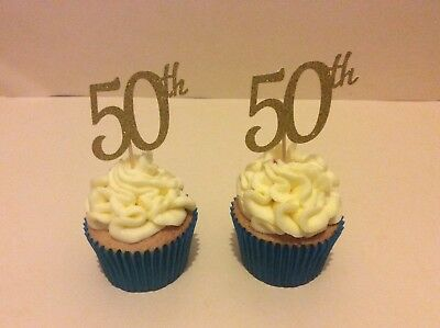 50th BIRTHDAY OR ANNIVERSARY GLITTER GOLD CUP CAKE TOPPERS X 12