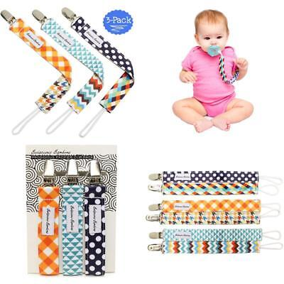 B.B. Pacifier Clip 3-Pack | 2-Sided Binky Clips For Baby Boys | Universal Str...