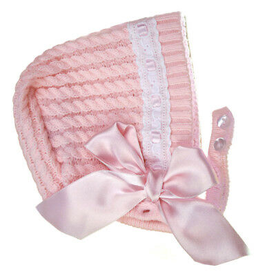 Stunning Baby Girls Romany Spanish Style Traditional Knitted Pink Bow Bonnet Hat