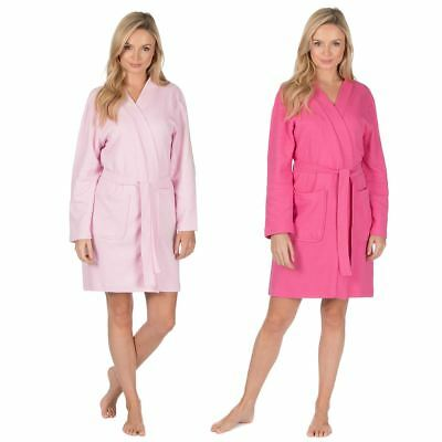 Ladies/Womens Waffle Robe/Dressing Gown/Wrap Pink