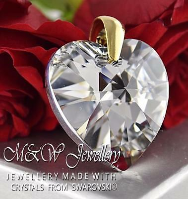 Gold Plated 925 Silver Pendant Crystals From Swarovski® 28Mm Heart Crystal Cal