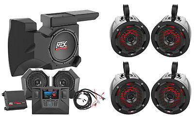 2014-18 Polaris RZR XP1000/900 (4) Tower Speakers+Pods+Amp+Receiver+Dash Kit+Sub