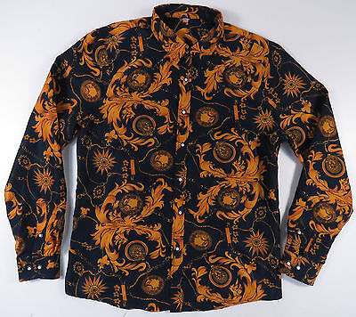 Vintage 80S 90S Baroque Navy Blue & Gold Chain All Over Print Button Up Shirt