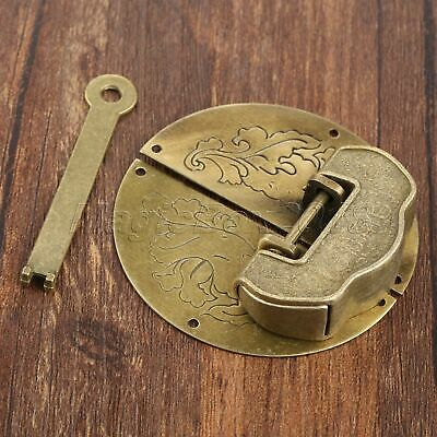 Archaistic Carved Word Padlock & Round Box Latch Hasp Set For Jewelry Box Chest