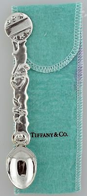 "Tiffany & Co 925 Sterling Silver Circus Bears Baby Feeding Spoon 5.5"" With Pouch"