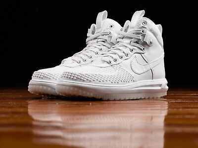 Mens NIKE LUNAR FORCE 1 DUCKBOOT SIZE 9 WHITE 805899 101