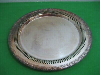 Vintage Camelot International Silver Plate Round Etched Serving Tray Model 6170