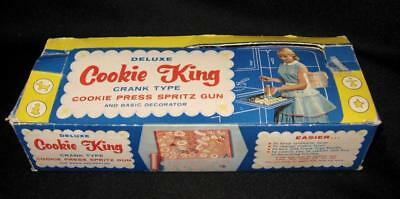 Vintage DELUXE COOKIE KING Crank Type Cookie Press Spritz Gun ~ Complete in Box!