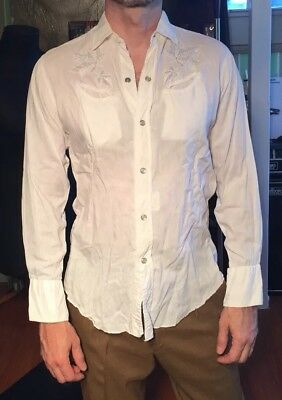VINTAGE H bar C Pearl Snap Long Sleeve White Western Shirt Men's Small S